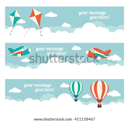A set of web banners with kites, hot air balloons and planes