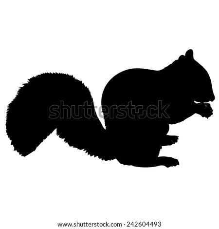 A silhouette of a squirrel eating a nut