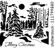 A silhouette of a winter forest. Black and white, can be used for embossing. - stock vector