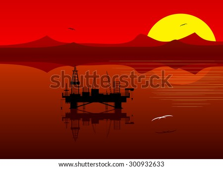 A silhouette of an oil platform against a landscape of red color