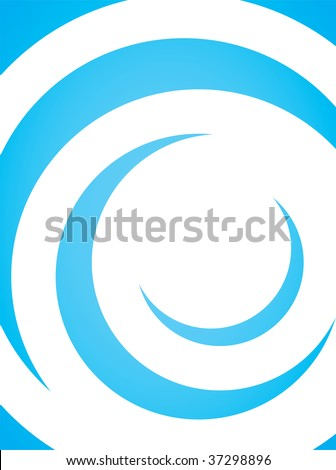 A simple blue vector layout with curling swoosh lines in a spiral shape.