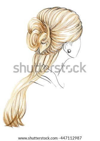 Girl Tress Wedding Hair Style Flowers Stock Vector 318329513 - Shutterstock