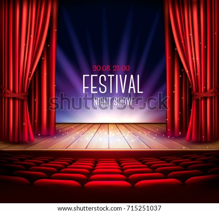 Theater Stage Red Curtain Spotlight Festival Stock Vector