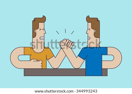 A two arm wrestling fighter. Concept of the competition or the opposition. Sport illustration set. Vector illustration flat style.