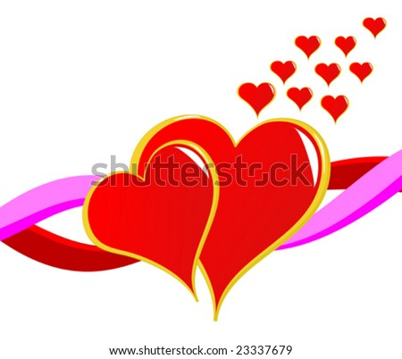 A valentines day vector illustration with two red hearts isolated on white