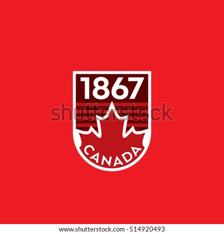 A vector Canadian crest featuring a red maple leaf and the year of Canada's confederation.
