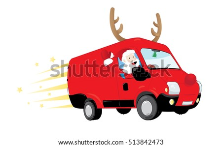 a vector cartoon representing a modern Santa Claus driving a speedy red van with antlers and a big red nose, delivering presents and flying in the sky