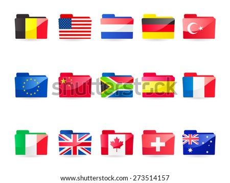 A vector illustration collection of 15 flag folders:- Belgium,  European Union, Italy, USA, China, UK, Netherlands, South Africa, Canada, Germany, Spain, Switzerland, France, Turkey and Australia