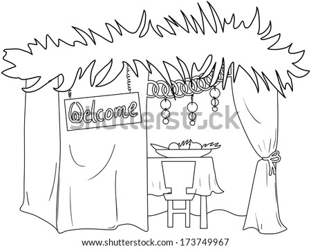 Vector illustration sukkah ornaments table food stock for Sukkah coloring pages