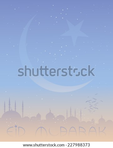 a vector illustration in eps 10 format of an eid greeting card with islamic skyline and crescent moon on a starry background