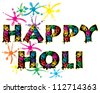 a vector illustration in eps 10 format of the words happy holi covered in colorful hand prints with paint splashes to celebrate the festival isolated on a white background - stock vector