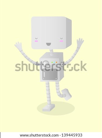A vector illustration of a happy robot. This is an Ai 10 file that does not contain any transparencies or blends. All layers have been grouped and named for easy editing.