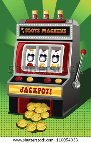"A vector illustration of a slot machine showing three clocks as the jackpot, can be used for ""Time is Money"" concept"