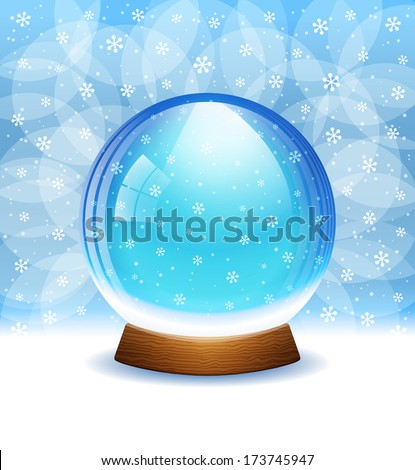A vector illustration of a transparent snow globe with snowflakes. Includes transparent objects  and opacity masks. Layered.