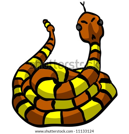 A vector illustration of a yellow and orange snake looking cute and threatening at the same time.