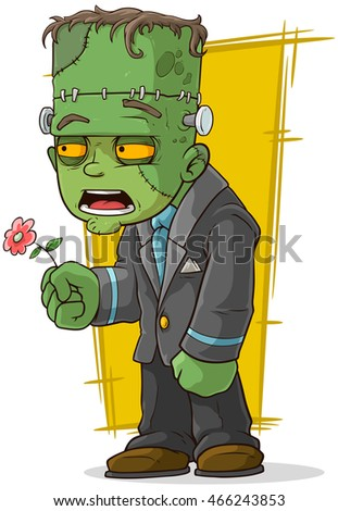 A vector illustration of cartoon green zombie monster with flower