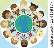 A vector illustration of multi ethnic group of children holding hands around the globe - stock vector