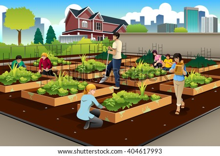 A vector illustration of people in community doing gardening together