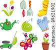 A vector illustration of spring gardening icons - stock photo