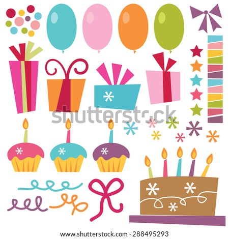 Vector Illustration Surprise Birthday Party Elements Stock Vector