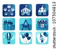 A vector illustration of theme park icons - stock vector