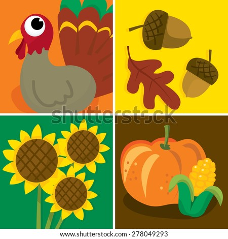 A vector illustration set of four different thanksgiving related images.
