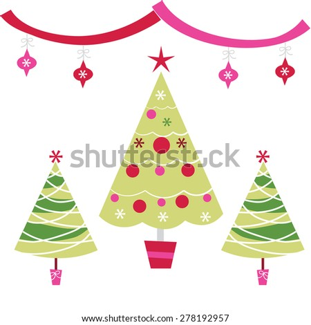 a vector illustration set of funky retro christmas trees with ornaments - Retro Christmas Trees