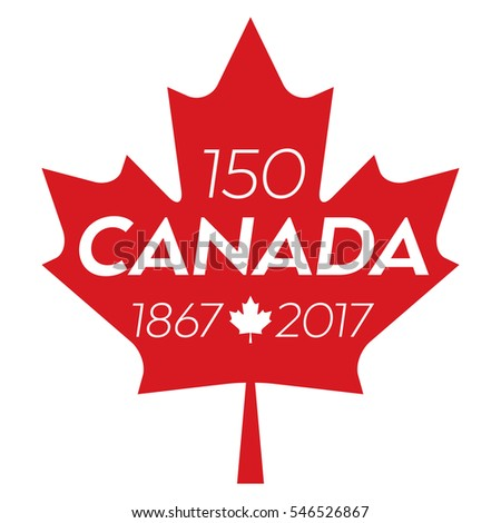 A vector maple leaf with text in the middle that says Canada and also includes the date range of 1867-2017 representing Canada's 150th anniversary.