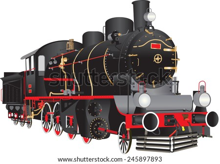 A Vintage Black and Red Steam Locomotive isolated on white