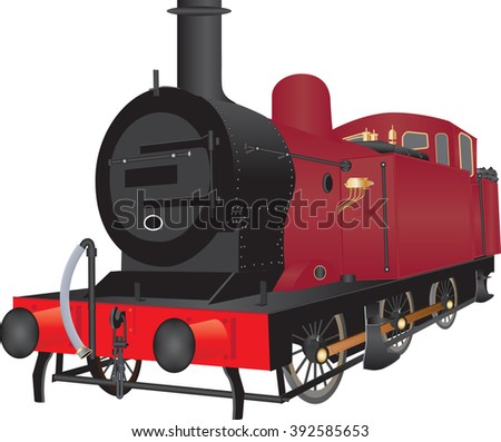 A Vintage Red Steam Shunting Locomotive isolated on white
