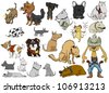 A wide variety of dogs on a white background - stock vector