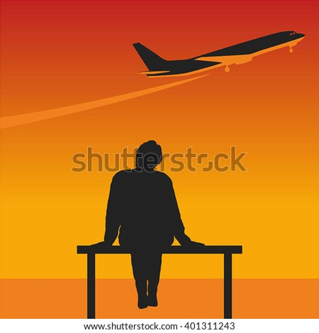 A woman looks at the aircraft. Vector with gradient.