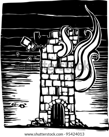 A woodcut style castle tower keep burning down.