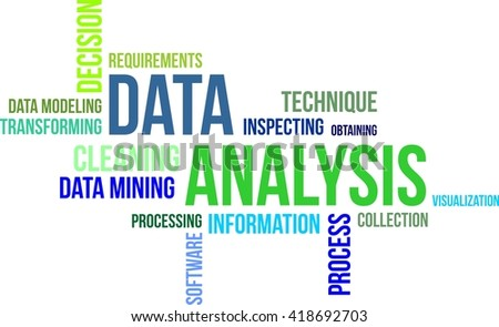 A word cloud of data analysis related items
