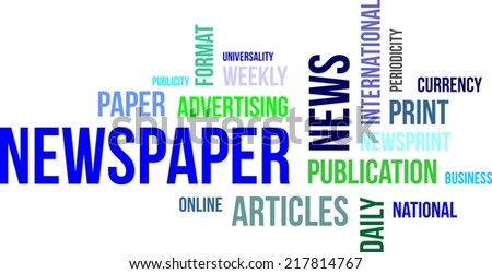 A word cloud of newspaper related items