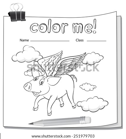 A worksheet with a flying pig on a white background