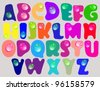 Abstract ABC,color alphabet with color drops, beautiful vector illustration - stock vector