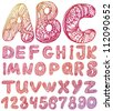 abstract ABC set  letters Hand drawn vector - stock vector