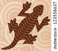 Abstract Aboriginal lizard dot painting in vector format. - stock vector