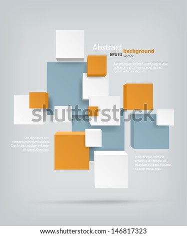 Abstract background. Chaotic cubes with copyspaces. EPS10 vector.