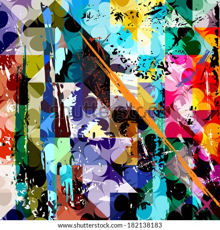 abstract background composition, with strokes, splashes and circles