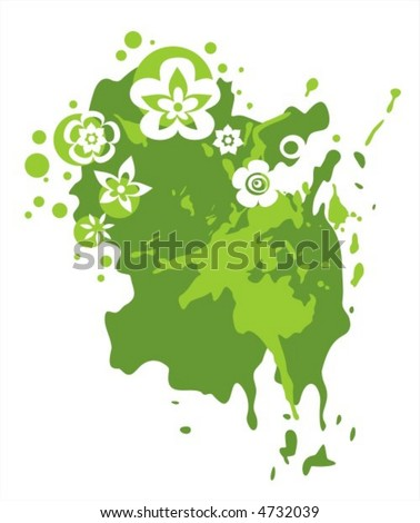 Abstract background from dark green blots and flowers on a white background.