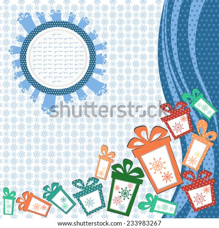 Abstract background of snowflakes with a mountain of gifts