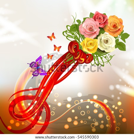 Abstract background with bouquet of rose