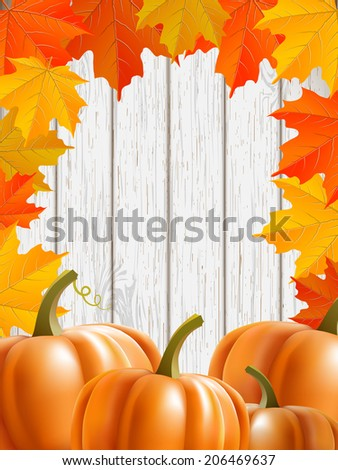 abstract background with maple leaves, pumpkins, and blue wooden wall, vector illustration, eps 10 with transparency and gradient meshes