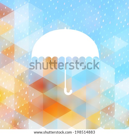 Abstract background with rain pattern and umbrella symbol. And also includes EPS 10 vector