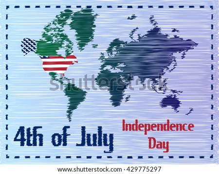 Set Different Us Flag Us Stock Vector Shutterstock - Us map independence