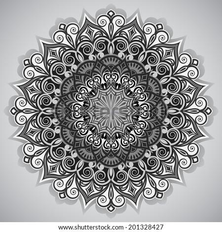 Round Pattern Mandala Abstract Design Persian Stock Vector
