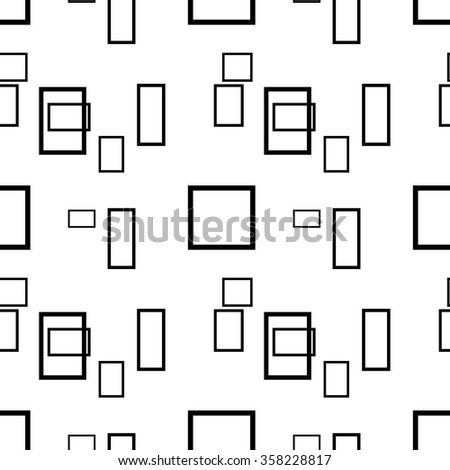 Abstract black and white seamless pattern with rectangles. Vector background.