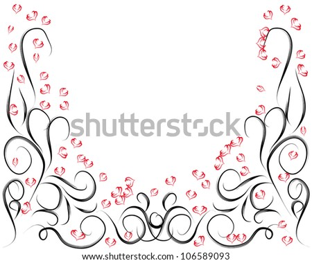 abstract black frame for you design with red hearts